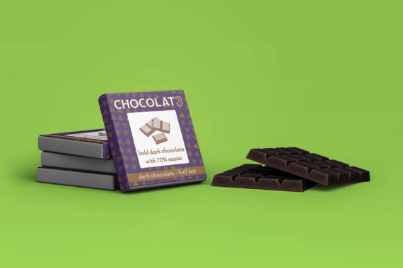 Chocolat3 dark chocolate bar packaging