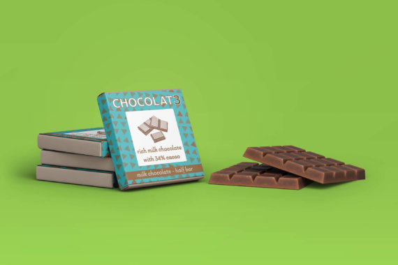 Chocolat3 milk chocolate bar packaging